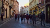 swarovski : PRAGUE, CZECH REPUBLIC - DECEMBER 3, 2016. Steadicam POV shot of touristic street in Old town. Stock Footage