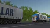 catálogo : Freight semi trucks with Caterpillar Inc. logo driving along forest road, seamless loop. Stock Footage