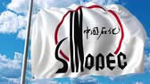 fabric : Waving flag with Sinopec logo against moving clouds. 4K editorial animation Stock Footage