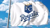 kansas : Waving flag with Kansas City Royals professional team logo. 4K editorial clip