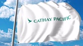 waving : Waving flag with Cathay Pacific logo. 4K editorial clip