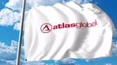 waving : Waving flag with AtlasGlobal logo. 4K editorial clip Stock Footage
