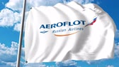 waving : Waving flag with Aeroflot logo. 4K editorial clip