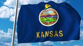 kansas : Waving flag of Kansas. 4K clip Stock Footage