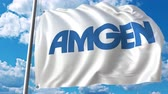 waving : Waving flag with Amgen logo. 4K editorial animation Stock Footage