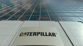 catálogo : Signage board with Caterpillar Inc. logo. Modern office building facade time lapse. Editorial 3D rendering
