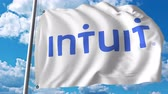 intuição : Waving flag with Intuit logo. 4K editorial animation