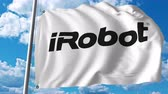 i robot : Waving flag with iRobot logo. 4K editorial animation Stock Footage