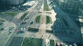 major city : WARSAW, POLAND - JANUARY 8, 2018. Aerial view of Woloska street traffic