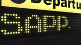 sapporo : Flight to Sapporo on international airport departures board. Travelling to Japan conceptual intro animation