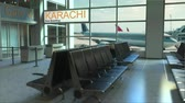 karachi : Karachi flight boarding now in the airport terminal. Travelling to Pakistan conceptual intro animation, 3D rendering
