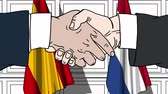 diplomat : Businessmen or politicians shaking hands against flags of Spain and Netherlands. Meeting or cooperation related cartoon animation