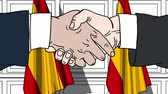 desenhada à mão : Businessmen or politicians shaking hands against flags of Spain. Meeting or cooperation related cartoon animation