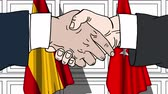 diplomat : Businessmen or politicians shaking hands against flags of Spain and Turkey. Meeting or cooperation related cartoon animation