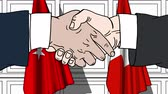 desenhado : Businessmen or politicians shaking hands against flags of Turkey and Switzerland. Meeting or cooperation related cartoon animation
