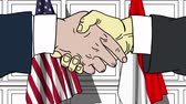 desenhado : Businessmen or politicians shaking hands against flags of USA and Indonesia. Meeting or cooperation related cartoon animation Stock Footage