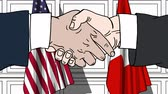 desenhado : Businessmen or politicians shaking hands against flags of USA and Switzerland. Meeting or cooperation related cartoon animation