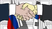 desenhado : Businessmen or politicians shaking hands against flags of Russia and Korea. Meeting or cooperation related cartoon animation