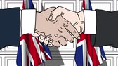 reino unido : Businessmen or politicians shaking hands against flags of Great Britain. Meeting or cooperation related cartoon animation Stock Footage