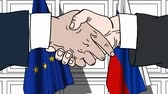 diplomat : Businessmen or politicians shaking hands against flags of EU and Russia. Meeting or cooperation related cartoon animation Stock Footage