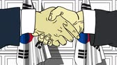 diplomat : Businessmen or politicians shaking hands against flags of South Korea. Meeting or cooperation related cartoon animation