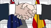 diplomat : Businessmen or politicians shaking hands against flags of Australia and Spain. Meeting or cooperation related cartoon animation Stock Footage