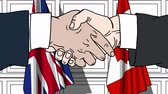 diplomat : Businessmen or politicians shaking hands against flags of Great Britain and Canada. Meeting or cooperation related cartoon animation Stock Footage