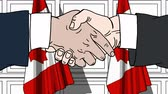 diplomat : Businessmen or politicians shaking hands against flags of Canada. Meeting or cooperation related cartoon animation
