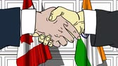 desenhado : Businessmen or politicians shaking hands against flags of Canada and India. Meeting or cooperation related cartoon animation Stock Footage