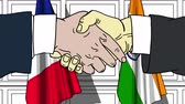 diplomat : Businessmen or politicians shaking hands against flags of France and India. Meeting or cooperation related cartoon animation