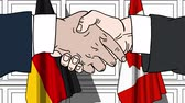 almanca : Businessmen or politicians shaking hands against flags of Germany and Canada. Meeting or cooperation related cartoon animation Stok Video