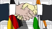 authority : Businessmen or politicians shaking hands against flags of Germany and India. Meeting or cooperation related cartoon animation Stock Footage