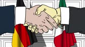 desenhado : Businessmen or politicians shaking hands against flags of Germany and Mexico. Meeting or cooperation related cartoon animation