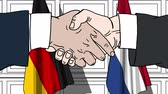 diplomat : Businessmen or politicians shaking hands against flags of Germany and Netherlands. Meeting or cooperation related cartoon animation Stock Footage