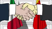 diplomat : Businessmen or politicians shaking hands against flags of Italy and China. Meeting or cooperation related cartoon animation