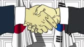 desenhado : Businessmen or politicians shaking hands against flags of Japan and Korea. Meeting or cooperation related cartoon animation