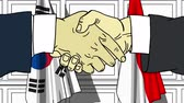 diplomat : Businessmen or politicians shaking hands against flags of Korea and Indonesia. Meeting or cooperation related cartoon animation Stock Footage