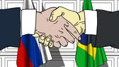 diplomat : Businessmen or politicians shaking hands against flags of Russia and Brazil. Meeting or cooperation related cartoon animation