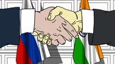 diplomat : Businessmen or politicians shaking hands against flags of Russia and India. Meeting or cooperation related cartoon animation