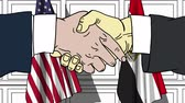diplomat : Businessmen or politicians shake hands against flags of USA and Egypt. Official meeting or cooperation related cartoon animation