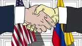 diplomat : Businessmen or politicians shake hands against flags of USA and Colombia. Official meeting or cooperation related cartoon animation Stock Footage