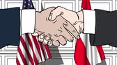 diplomat : Businessmen or politicians shake hands against flags of USA and Austria. Official meeting or cooperation related cartoon animation Stock Footage