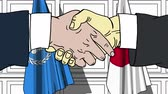 desenhada à mão : Businessmen or politicians shake hands against flags of United Nations and Japan. Official meeting or cooperation related editorial animation