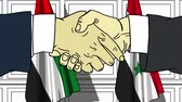 diplomat : Businessmen or politicians shake hands against flags of UAE and Syria. Official meeting or cooperation related cartoon animation Stock Footage