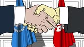 diplomat : Businessmen or politicians shake hands against flags of United Nations and Hong Kong. Official meeting or cooperation related editorial animation Stock Footage