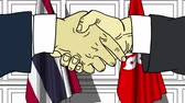 desenhado : Businessmen or politicians shake hands against flags of Thailand and Hong Kong. Official meeting or cooperation related cartoon animation
