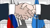 diplomat : Businessmen or politicians shake hands against flags of Russia and United Nations. Official meeting or cooperation related editorial animation