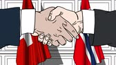 kontrakt : Businessmen or politicians shake hands against flags of Switzerland and Norway. Official meeting or cooperation related cartoon animation Wideo