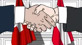 diplomat : Businessmen or politicians shake hands against flags of Switzerland and Austria. Official meeting or cooperation related cartoon animation