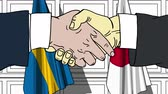 desenhada à mão : Businessmen or politicians shake hands against flags of Sweden and Japan. Official meeting or cooperation related cartoon animation